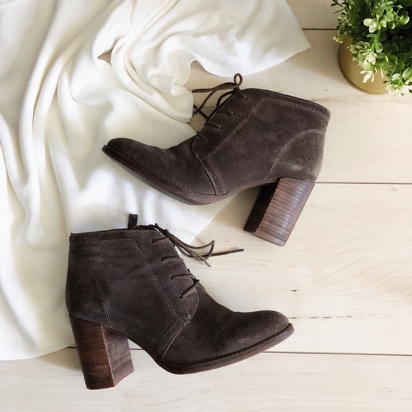 Franco Sarto Lace Up Heeled Suede Ankle